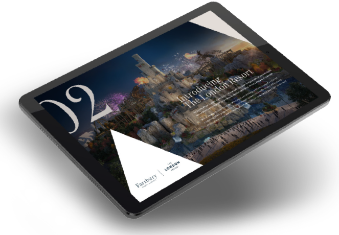 Tablet device previewing complementary investment brochure